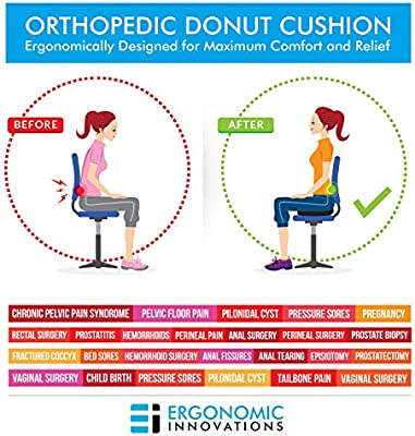 Donut Tailbone Pillow Hemorrhoid Cushion - Donut Seat Cushion Pain Relief Hemmoroid Treatment, Bed Sores, Prostate, Coccyx, Sciatica, Pregnancy, Post Natal Orthopedic Surgery – Firm Sitting Pillow