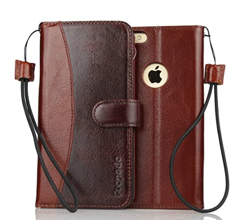 iPhone 6 Plus Leather Case, Propado Handmade Genuine Leather Wallet Case with Stand Feature for iPhone 6S Plus  iPhone 6 Plus 5.5 inch, Magnetic Clos…
