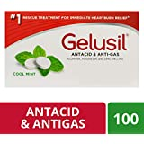 Gelusil Anti-Gas and Heartburn Relief Antacid Chewable Tablets, Cool Mint - 100 ct Blister Pack