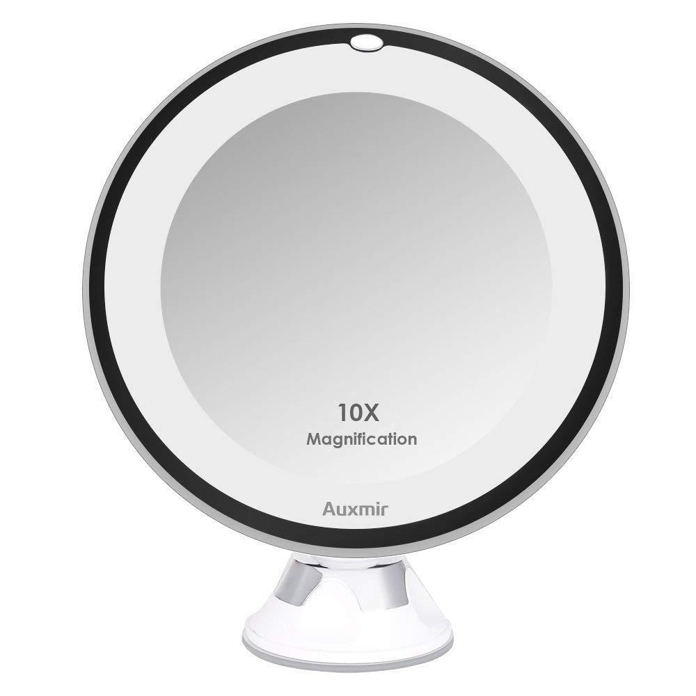 Auxmir Specchio da trucco LED illuminato da 6,5 pollici con ingrandimento e ventosa 10x, girevole a 360 °, specchio per il trucco Specchio per il trucco con illuminazione antiabbagliamento per la casa e in viaggio