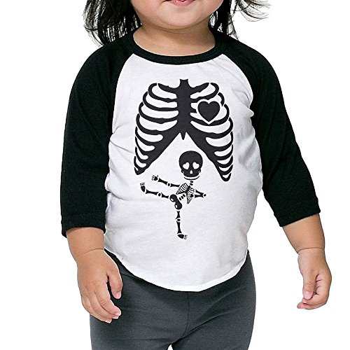 Halloween Pregnant Skeleton Ninja Kid's Sleeve Raglan Clothes Unisex 4 Toddler (Hockey Masker Halloween)