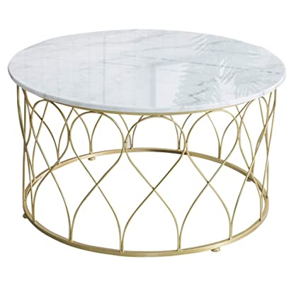 Amazoncom Wrought Iron Coffee Table Round White Marble Tabletop