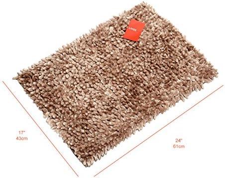 Brown 17 x 24 LIVINGbasics/™ Non-Slip Microfiber Chenille Bath Rugs Floor Mat Ultra Soft Machine Wash Bathroom Water Absorbent Bedroom Area Rugs