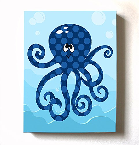 Under The Sea Ocean Theme - Stretched Canvas Nursery Wall Art Decor - Adorable Octopus Design That Makes a Memorable Baby Gift Idea 100% Wooden Frame Construction - Ready to Hang 11X14