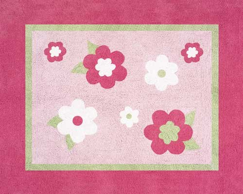 Sweet Jojo Designs Pink and Green Flower Accent Floor Rug