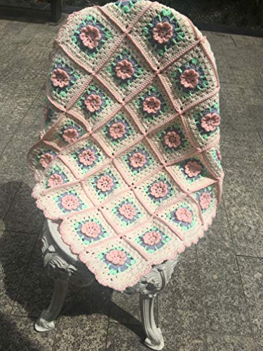 Handmade Crochet blanket, granny square multicolor blanket, 3D rose petals,larger multicolor throw blanket
