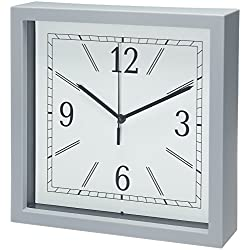 Bernhard Products Square Wall Clock, 9 Grey Wall Clock/Desk Clock- Quality Plastic Quartz, Battery Operated, Gray Decorative Home Clock
