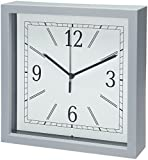 Bernhard Products Square Wall Clock, 9'' Grey Wall Clock/Desk Clock- Quality Plastic Quartz, Battery Operated, Gray Decorative Home Clock