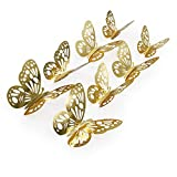 aooyaoo 48pcs/lot 3D Butterfly Kids Wall Stickers Fridge for Nursery Room Decoration (Gold 1)