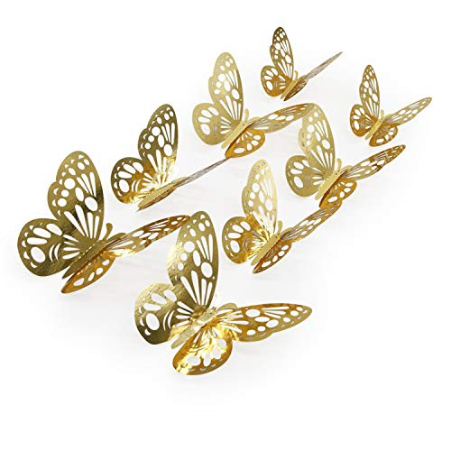 (aooyaoo 48pcs/lot 3D Butterfly Kids Wall Stickers Fridge for Nursery Room Decoration (Gold 1))