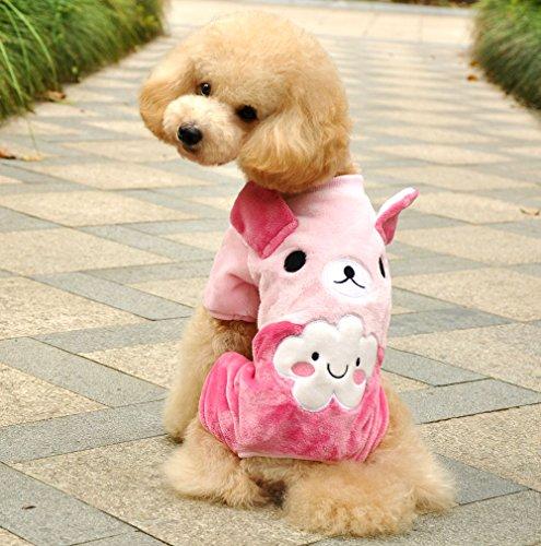 (SMALLLEE_LUCKY_STORE Pet Cloud Bear Four Legs Velvet Coat, Pink, Small)