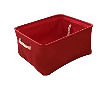 Practical Beautiful Linen Clothing Storage Box Storage Basket, Red
