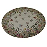 KAS Rugs EME901956X56RO Emerald Collection Butterfly Garden Round Area Rug, 5-Feetx6-Inch, Antique Beige