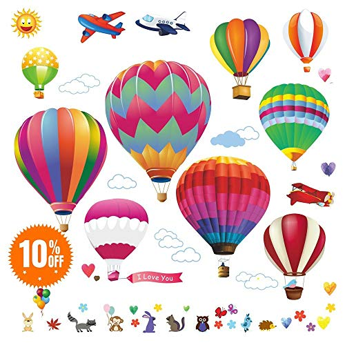 - Lemostaar Hot Air Balloons Wall Decals Stickers: Pre-Cut Decorative Vinyl Peel and Stick Classroom Decorations Wall Art Mural for Children's Bedroom, Baby Nursery and Playroom