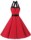 Dressystar Vintage Polka Dot Retro Cocktail Prom Dresses 50's 60's Rockabilly Bandage Red L