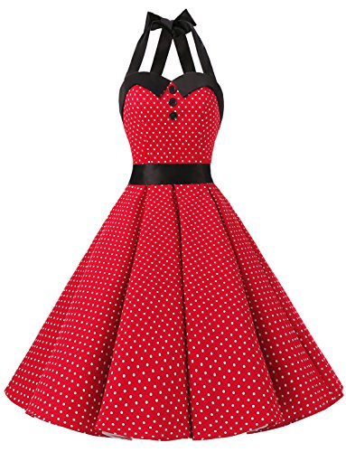 olka Dot Retro Cocktail Prom Dresses 50's 60's Rockabilly Bandage Red S (Polka Dot Cocktail Dresses)