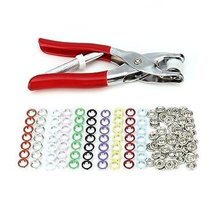 LAOYE 150pcs set de Metálicos Corchetes Botones a Presión 10 Colores + Alicate Prensa para Broches
