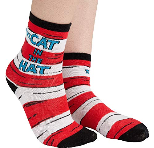 Costumes USA Dr. Seuss Cat in the Hat Crew Socks for Adults, Costume Accessories, One size ()