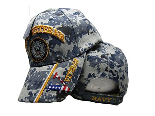 United States Navy Veteran V Blue CAMO Baseball Style Embroidered HAT us USA Cap (Best States For Veterans)