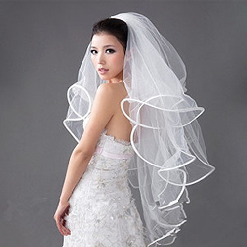 Aurora Bridal® Women's Multi-Layered Bridal Veil Satin Edge with Comb