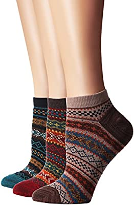 Flora&Fred Women's 3 Pair Pack Vintage Style Cotton No Show Socks
