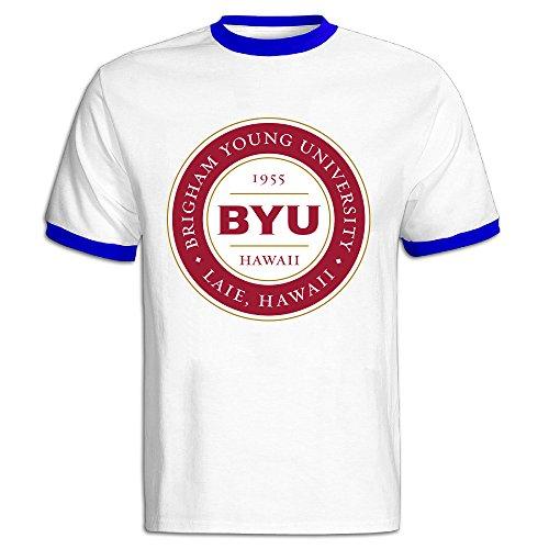 JSSAD Man's Classical Brigham Young University BYU Hawaii Medallion Running Tee RoyalBlue ()
