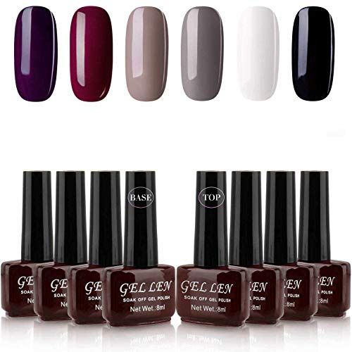 Gellen Gel Nail Polish Kit 6 Colors With Base Top Coat - Classic Elegance Series Popular Dark Shade Nail Art Colors White Black Grays Wine Purple Home Gel Manicure Set