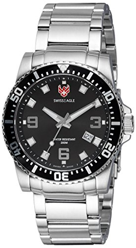 Swiss Eagle Men's SE-9007-11 Admiral 3 Hand Date Black Stainless Steel Watch