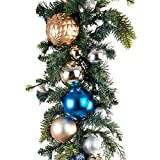 9 ft. Artificial Pre Lit LED Decorated Garland - Celebration Ornament Christmas Garland - 100 super mini LED warm clear colored lights with timer and battery pack for indoor and outdoor use