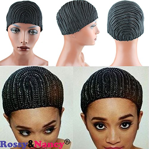 [Rossy&Nancy Medium Black Braids Cap for Easier Sew Hair Weft Designed for Those Who Suffered From Hair Loss Braided Wig] (Cornrow Wigs)