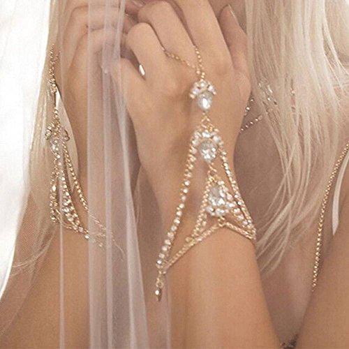 patcharin shop Luxury Rhinestone Tear Drop Finger Chain Bracelet Slave Chain Link Finger Ring Color Gold
