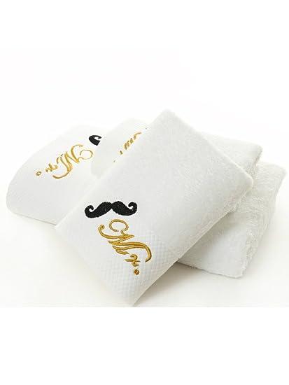 Señor y señora juego de toallas de baño toalla de mano paños 90% algodón bordado