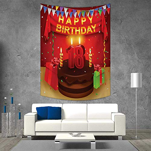 smallbeefly 18th Birthday Home Decorations for Living Room Bedroom 18 Happy Birthday Party with Curtains Cakes Baloons Adulthood Image Wall Art Home Decor 60W x 80L INCH Red and Burgundy -