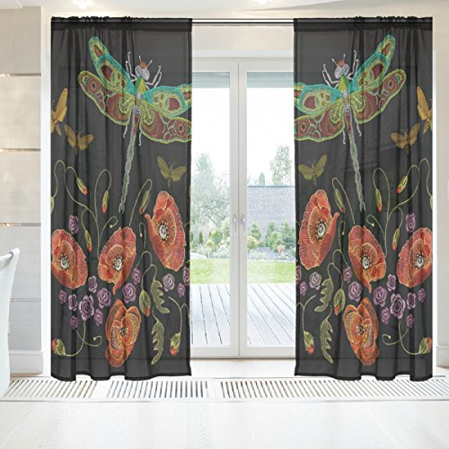 INGBAGS Elegant Voile Window Long Sheer Curtain 2 Panels Beautiful Dragonfly And Flowers Print Tulle Polyester for Door Window Room Decoration 55x84 Inch ,Set of 2 Five Dragonfly Window