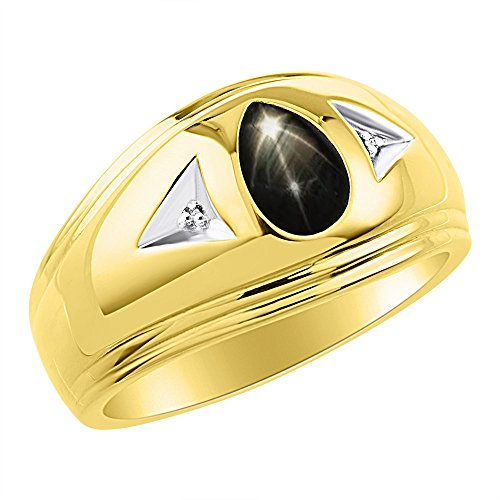 Timeless Pear Shape Genuine Black Star Sapphire & Natural Diamond Ring Yellow Gold Plated Silver .925 by Rylos