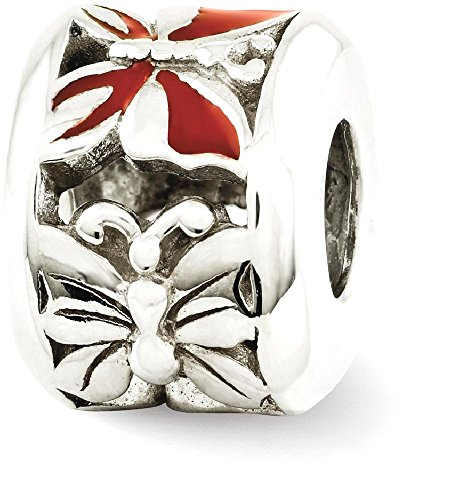 Red Enameled Butterfly Charm - 1