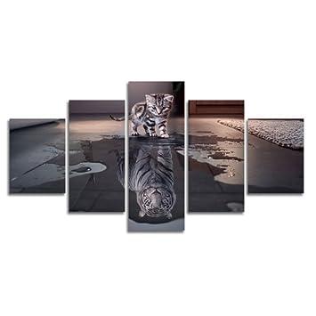 la vie 5 teilig wandbild gemalde hochwertiger katzchen und tiger leinwand bilder moderne kunstdruck als olbild