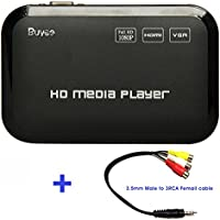 Buyee Portable Full 1080p Hd Multi Media Player 3 Outputs Hdmi, Vga, Av, 2 Inputs Sd Card & USB Reader for Hdds or Pen Drives, Digital Auto-play & Loop-play