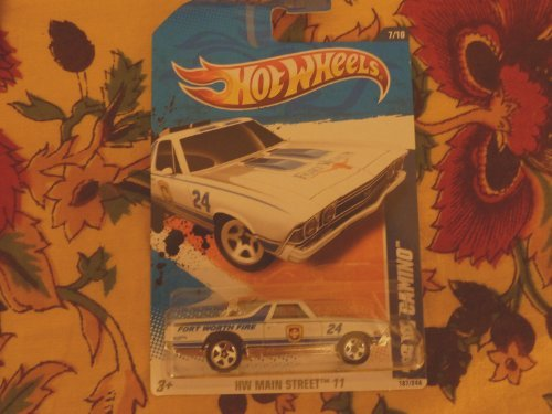 """Hot Wheels 2011 '' '68 EL CAMINO """" HW MAIN STREET '11 - 7 of 10 - 167/244 White with 'FORT WORTH FIRE' on rear Quarterpanel & hood.Fort Worth emblem on door.Blower engine behind cab & Tonneau Cover from Hot Wheels"""