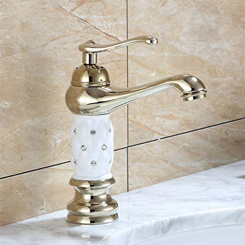 毎日の装飾温水と冷水蛇口金ヨーロッパ金メッキ耐摩耗性蛇口銅ボディバスルーム洗面台ラベンダー防食ダイヤモンドタップ
