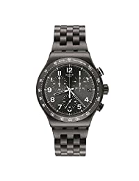 Swatch Men's 43mm Gun Metal Steel Bracelet & Case Quartz Grey Dial Analog Watch YVM402G
