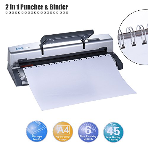 Aibecy DSB WR-60 A4 Paper Puncher + Binder Punch Wire Binding Machine 34/32 Holes, 6 Sheets Punching, 45 Sheets Binding, Support 6.4mm Wire by Aibecy (Image #6)