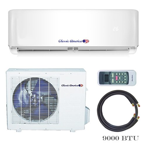 Classic America Ductless Wall Mount Mini Split Inverter Air Conditioner with Heat Pump, 9,000 BTU (1 Ton), 22 SEER 110-120 VAC, Full Set