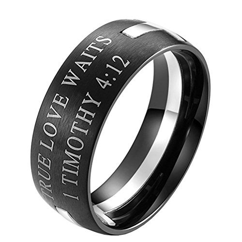 LANHI Mens Stainless Steel Bible Verse 1 Timothy 4:12 Christian Cross Puzzle Ring Gold and Silver