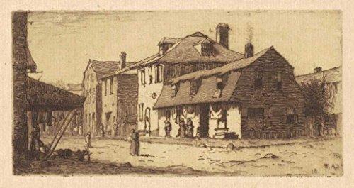 Artist: Charles A. Platt | Print: Thames Street, Newport | Date: 1881 | Vintage Fine Art - Newport Thames Street