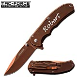GIFTS INFINITY Free Engraving - Tac - Force Titanium Coated Stainless Steel Quality Pocket Knife Spring Assisted Knife (BRONZE TF-933RG)