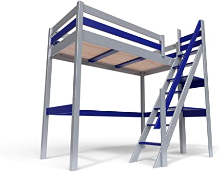 ABC MEUBLES - Cama Alta Sylvia con Escalera empinada - 1130 - Gris Aluminio/Azul, 90x200: Amazon.es: Hogar