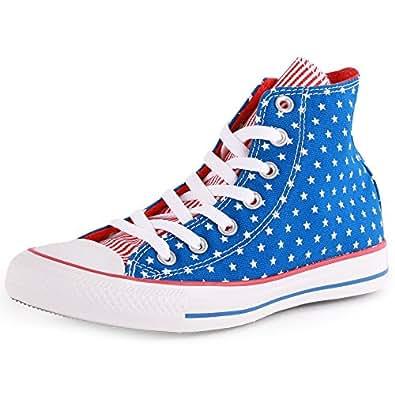 Converse Mens Chuck Taylor All Star Hi-Top Blue/White/Red Sneaker - 10.5 Men - 12.5 Women