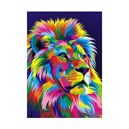 TiTCool 5D Diamond Painting, Colorful Lion 30x40CM, Diamond Embroidery by Number Kits Arts Pasted Craft DIY Home Decor