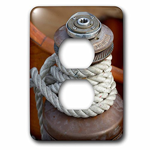 Old Port Wood - Danita Delimont - Boats - USA, Washington State, Port Townsend. Barient winch on an old wood sailboat - Light Switch Covers - 2 plug outlet cover (lsp_231758_6)